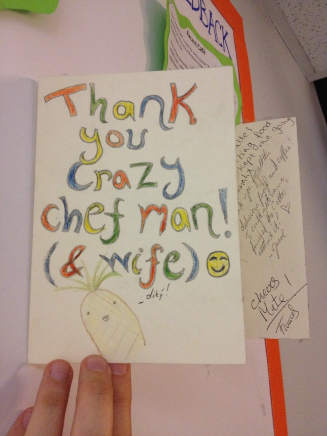 One of Happy Chef's thank you cards from previous students. :)
